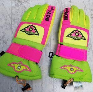 Hotfingers Neon Ski Gloves Size Medium
